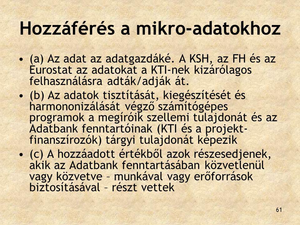61 Hozzáférés a mikro-adatokhoz (a) Az adat az adatgazdáké. A KSH, az FH és az Eurostat az adatokat a KTI-nek kizárólagos felhasználásra adták/adják á