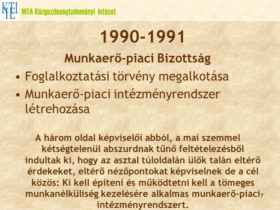 7 MTA Közgazdaságtudományi Intézet 1990-1991 Munkaerő-piaci Bizottság Foglalkoztatási törvény megalkotása Munkaerő-piaci intézményrendszer létrehozása