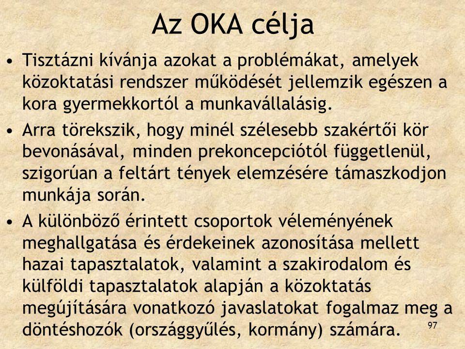 97 Az OKA célja Tisztázni kívánja azokat a problémákat, amelyek közoktatási rendszer működését jellemzik egészen a kora gyermekkortól a munkavállalási