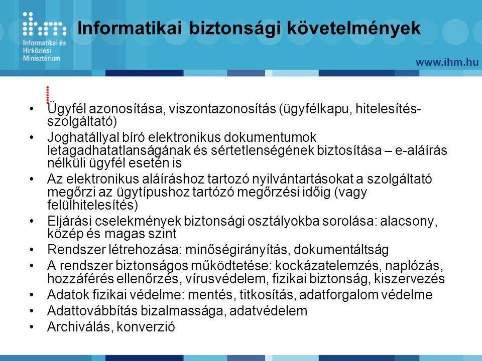 www.ihm.hu Informatikai biztonsági követelmények Ügyfél azonosítása, viszontazonosítás (ügyfélkapu, hitelesítés- szolgáltató) Joghatállyal bíró elektr