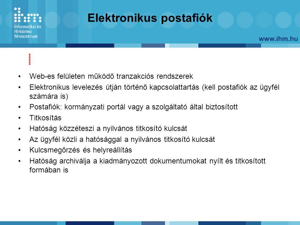 www.ihm.hu Elektronikus postafiók Web-es felületen működő tranzakciós rendszerek Elektronikus levelezés útján történő kapcsolattartás (kell postafiók