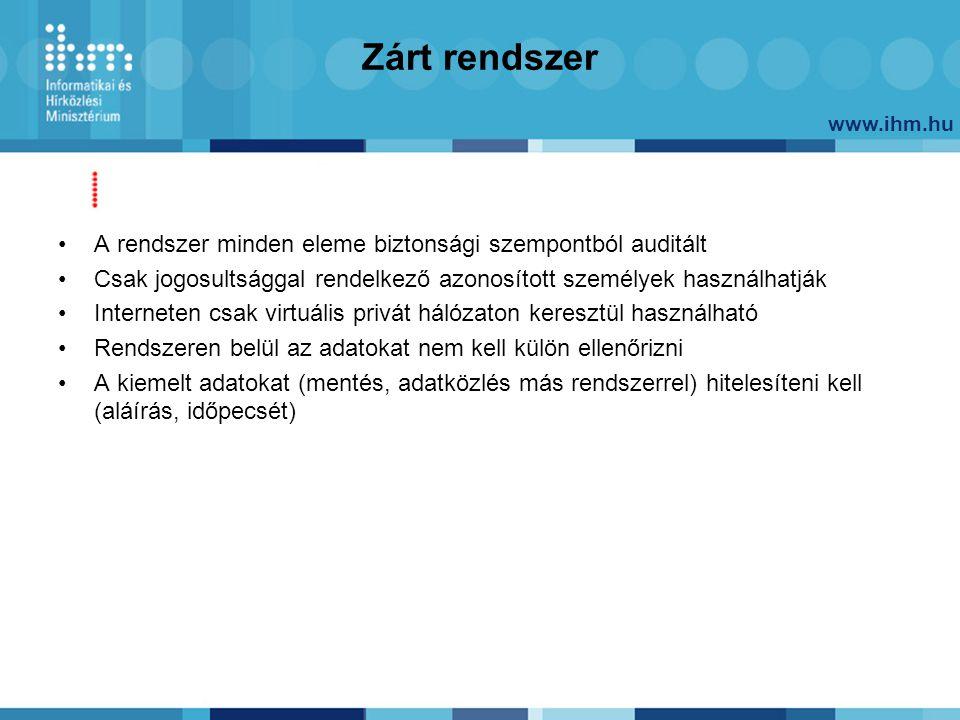 www.ihm.hu Zárt rendszer A rendszer minden eleme biztonsági szempontból auditált Csak jogosultsággal rendelkező azonosított személyek használhatják In