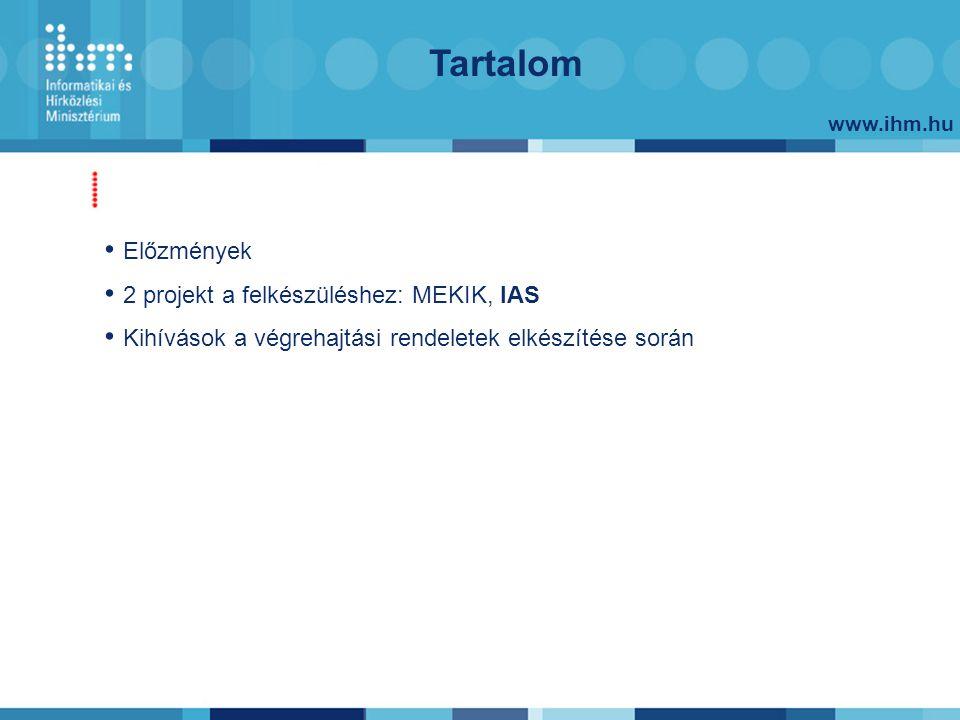 www.ihm.hu Tartalom Előzmények 2 projekt a felkészüléshez: MEKIK, IAS Kihívások a végrehajtási rendeletek elkészítése során