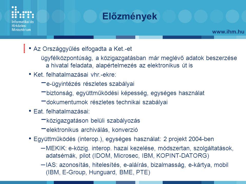 www.ihm.hu Előzmények Az Országgyűlés elfogadta a Ket.-et ügyfélközpontúság, a közigazgatásban már meglévő adatok beszerzése a hivatal feladata, alapé