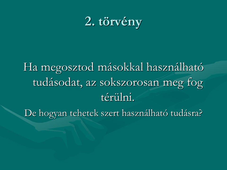 2. törvény Ha megosztod másokkal használható tudásodat, az sokszorosan meg fog térülni.