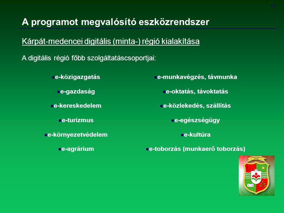 12 A programot megvalósító eszközrendszer Kárpát-medencei digitális (minta-) régió kialakítása A digitális régió főbb szolgáltatáscsoportjai: e-köziga