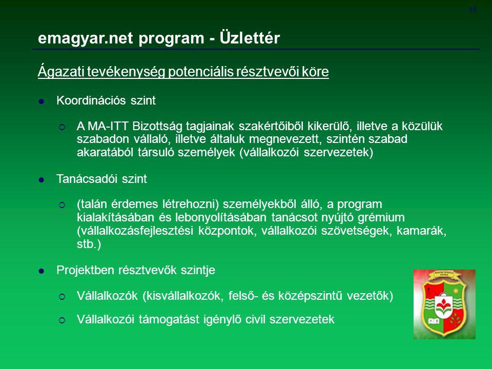 15 emagyar.net program - Üzlettér Ágazati tevékenység potenciális résztvevői köre Koordinációs szint  A MA-ITT Bizottság tagjainak szakértőiből kiker