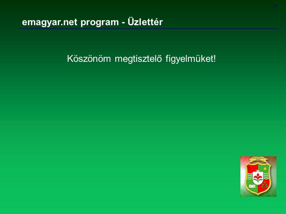 16 emagyar.net program - Üzlettér Köszönöm megtisztelő figyelmüket!