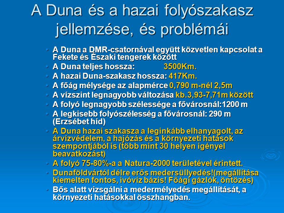 A Duna és a hazai folyószakasz jellemzése, és problémái A Duna a DMR-csatornával együtt közvetlen kapcsolat a Fekete és Északi tengerek közöttA Duna a