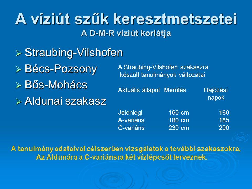 A víziút szűk keresztmetszetei A D-M-R viziút korlátja  Straubing-Vilshofen  Bécs-Pozsony  Bős-Mohács  Aldunai szakasz A Straubing-Vilshofen szaka