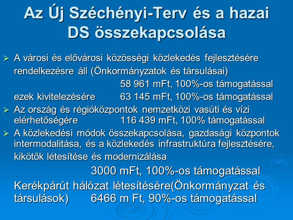 Az Új Széchényi-Terv és a hazai DS összekapcsolása  A városi és elővárosi közösségi közlekedés fejlesztésére rendelkezésre áll (Önkormányzatok és tár