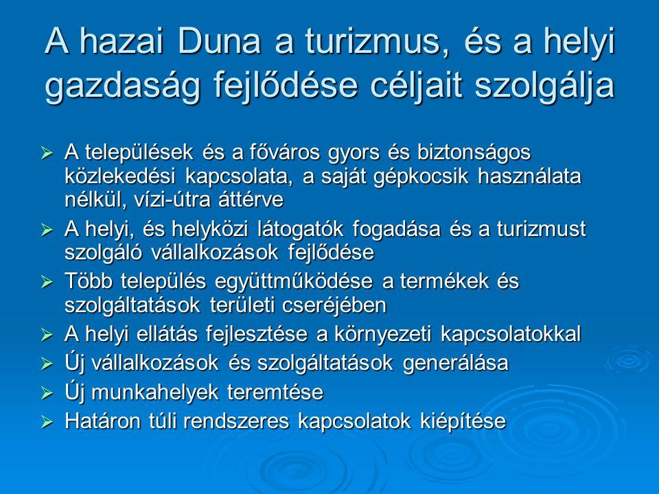 A hazai Duna a turizmus, és a helyi gazdaság fejlődése céljait szolgálja  A települések és a főváros gyors és biztonságos közlekedési kapcsolata, a s