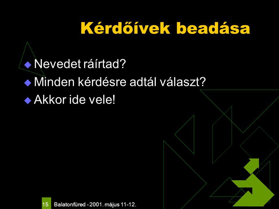 Balatonfüred - 2001. május 11-12. 15 Kérdőívek beadása  Nevedet ráírtad.