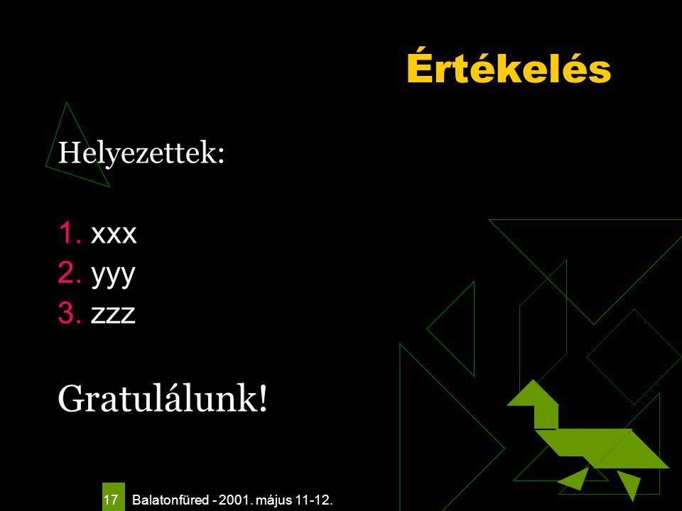 Balatonfüred - 2001. május 11-12. 17 Értékelés Helyezettek: 1. xxx 2. yyy 3. zzz Gratulálunk!
