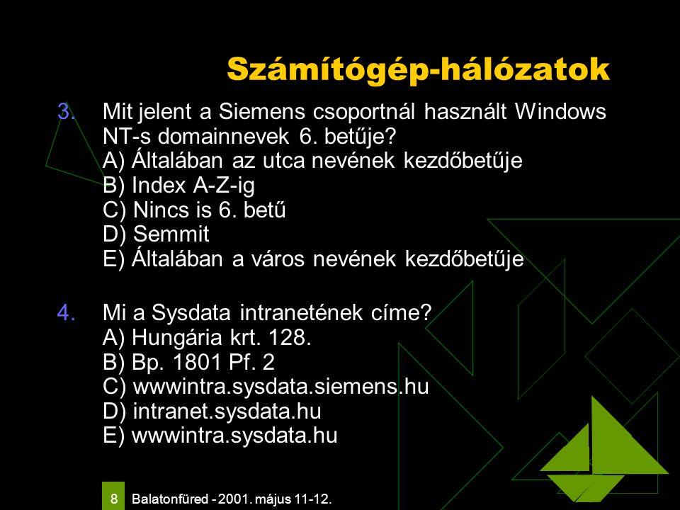 Balatonfüred - 2001. május 11-12. 8 Számítógép-hálózatok 3.