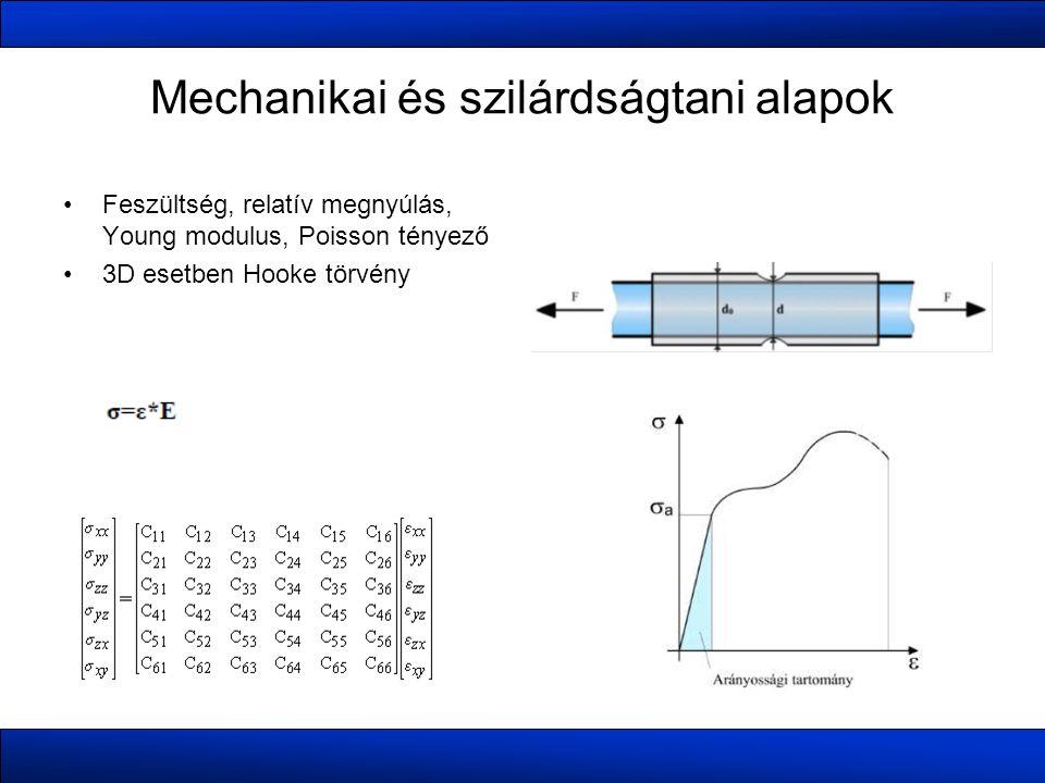 Mechanikai és szilárdságtani alapok Feszültség, relatív megnyúlás, Young modulus, Poisson tényező 3D esetben Hooke törvény