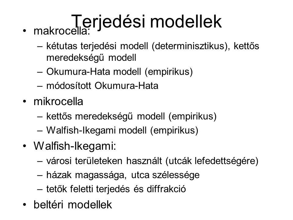 Terjedési modellek makrocella: –kétutas terjedési modell (determinisztikus), kettős meredekségű modell –Okumura-Hata modell (empirikus) –módosított Okumura-Hata mikrocella –kettős meredekségű modell (empirikus) –Walfish-Ikegami modell (empirikus) Walfish-Ikegami: –városi területeken használt (utcák lefedettségére) –házak magassága, utca szélessége –tetők feletti terjedés és diffrakció beltéri modellek