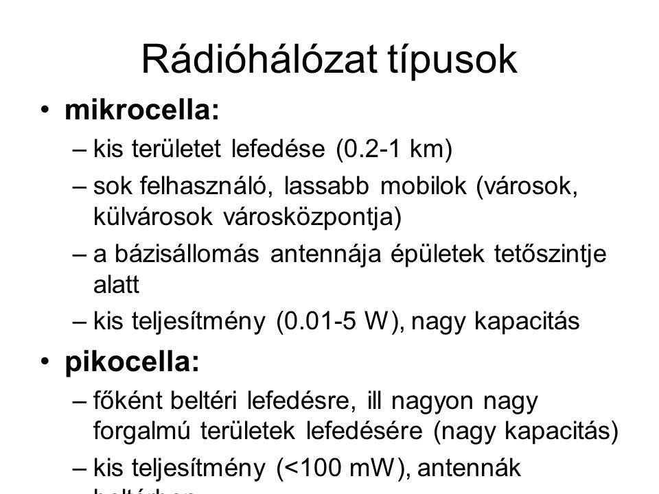 Rádióhálózat típusok mikrocella: –kis területet lefedése (0.2-1 km) –sok felhasználó, lassabb mobilok (városok, külvárosok városközpontja) –a bázisáll