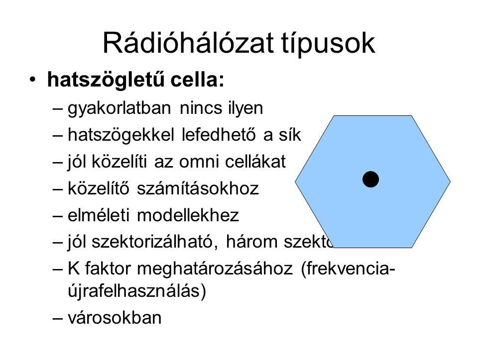 Rádióhálózat típusok hatszögletű cella: –gyakorlatban nincs ilyen –hatszögekkel lefedhető a sík –jól közelíti az omni cellákat –közelítő számításokhoz –elméleti modellekhez –jól szektorizálható, három szektor –K faktor meghatározásához (frekvencia- újrafelhasználás) –városokban