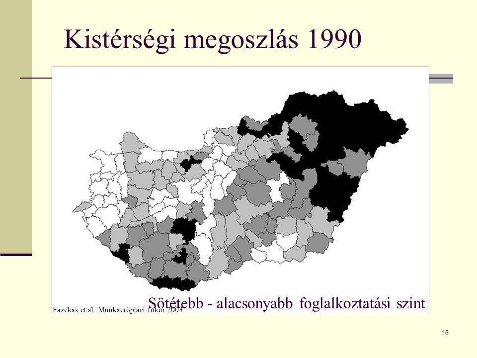 16 Kistérségi megoszlás 1990 Sötétebb - alacsonyabb foglalkoztatási szint Fazekas et al. Munkaerőpiaci tükör 2003