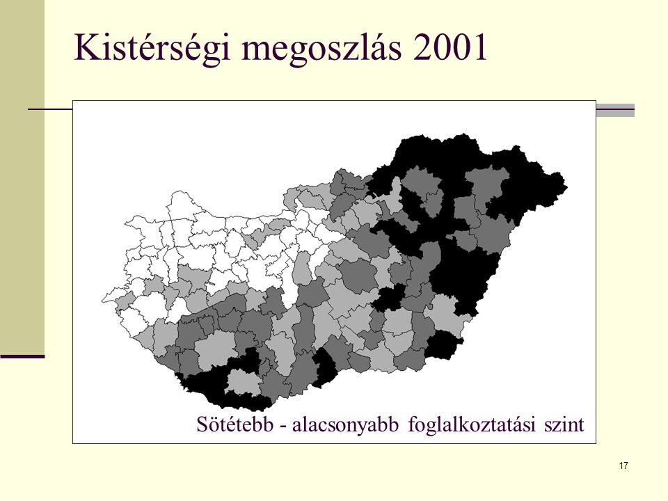 17 Kistérségi megoszlás 2001 Sötétebb - alacsonyabb foglalkoztatási szint