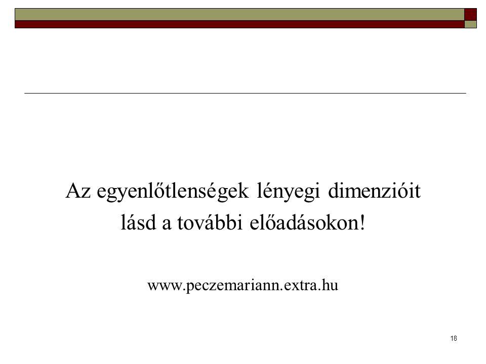 18 Az egyenlőtlenségek lényegi dimenzióit lásd a további előadásokon! www.peczemariann.extra.hu