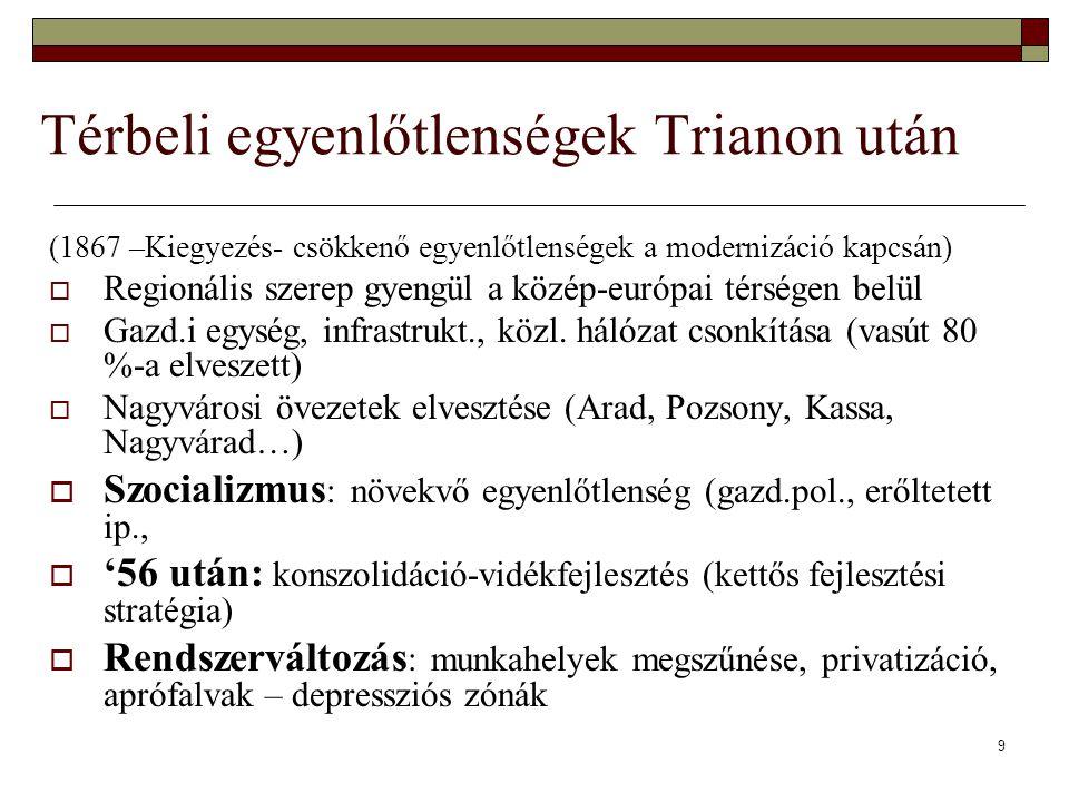9 Térbeli egyenlőtlenségek Trianon után (1867 –Kiegyezés- csökkenő egyenlőtlenségek a modernizáció kapcsán)  Regionális szerep gyengül a közép-európa