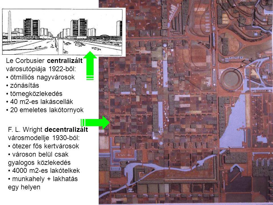 2010 július 22 F. L. Wright decentralizált városmodellje 1930-ból: ötezer fős kertvárosok városon belül csak gyalogos közlekedés 4000 m2-es lakótelkek