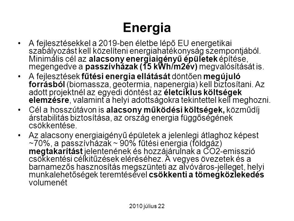 2010 július 22 Energia A fejlesztésekkel a 2019-ben életbe lépő EU energetikai szabályozást kell közelíteni energiahatékonyság szempontjából. Minimáli