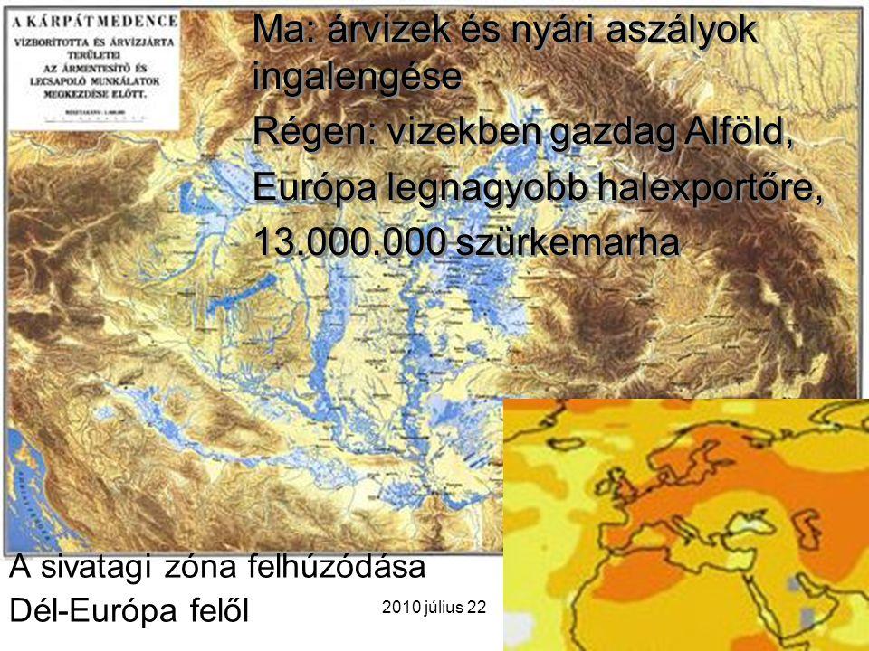 2010 július 22 A sivatagi zóna felhúzódása Dél-Európa felől Ma: árvizek és nyári aszályok ingalengése Régen: vizekben gazdag Alföld, Európa legnagyobb