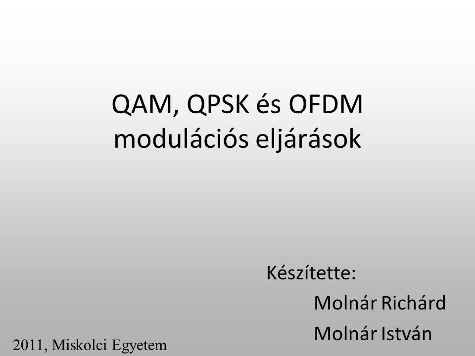 Modulációs eljárások Az előadásban a QAM, QPSK és az OFDM modulációról lesz szó valamint azokat egymással összehasonlítva nézzük meg azok előnyeit és hátrányait.