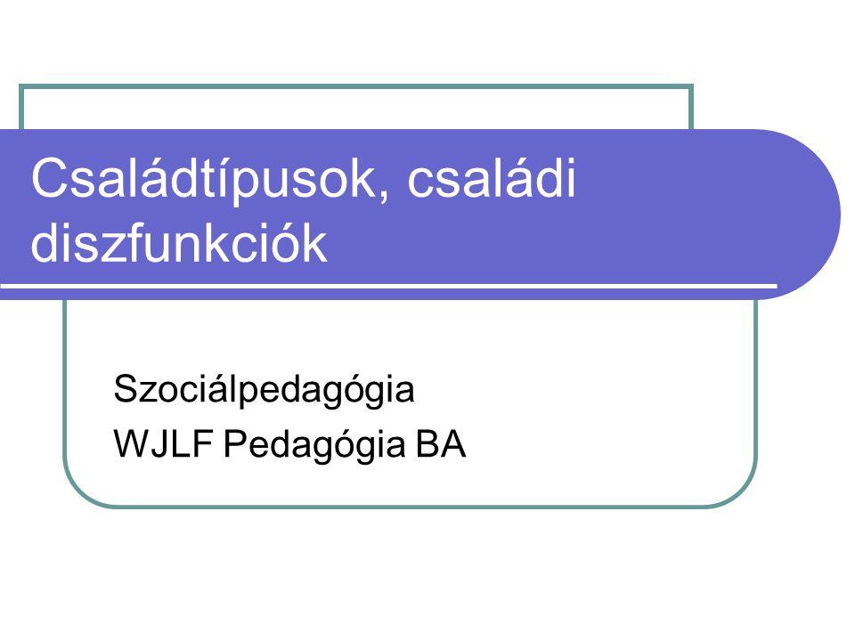 Családtípusok, családi diszfunkciók Szociálpedagógia WJLF Pedagógia BA