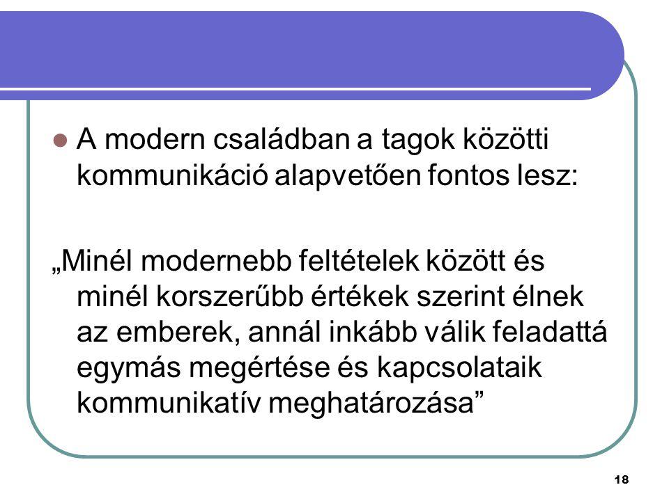 """18 A modern családban a tagok közötti kommunikáció alapvetően fontos lesz: """"Minél modernebb feltételek között és minél korszerűbb értékek szerint élne"""