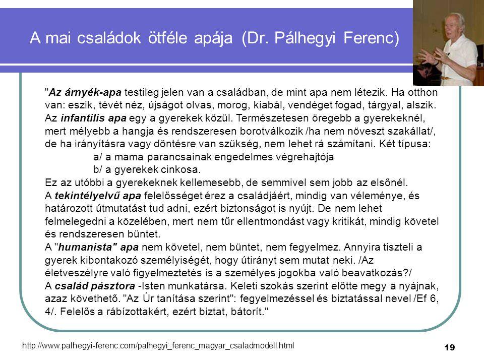 19 A mai családok ötféle apája (Dr. Pálhegyi Ferenc)