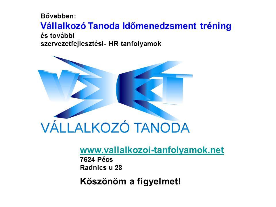 Bővebben: Vállalkozó Tanoda Időmenedzsment tréning és további szervezetfejlesztési- HR tanfolyamok www.vallalkozoi-tanfolyamok.net 7624 Pécs Radnics u