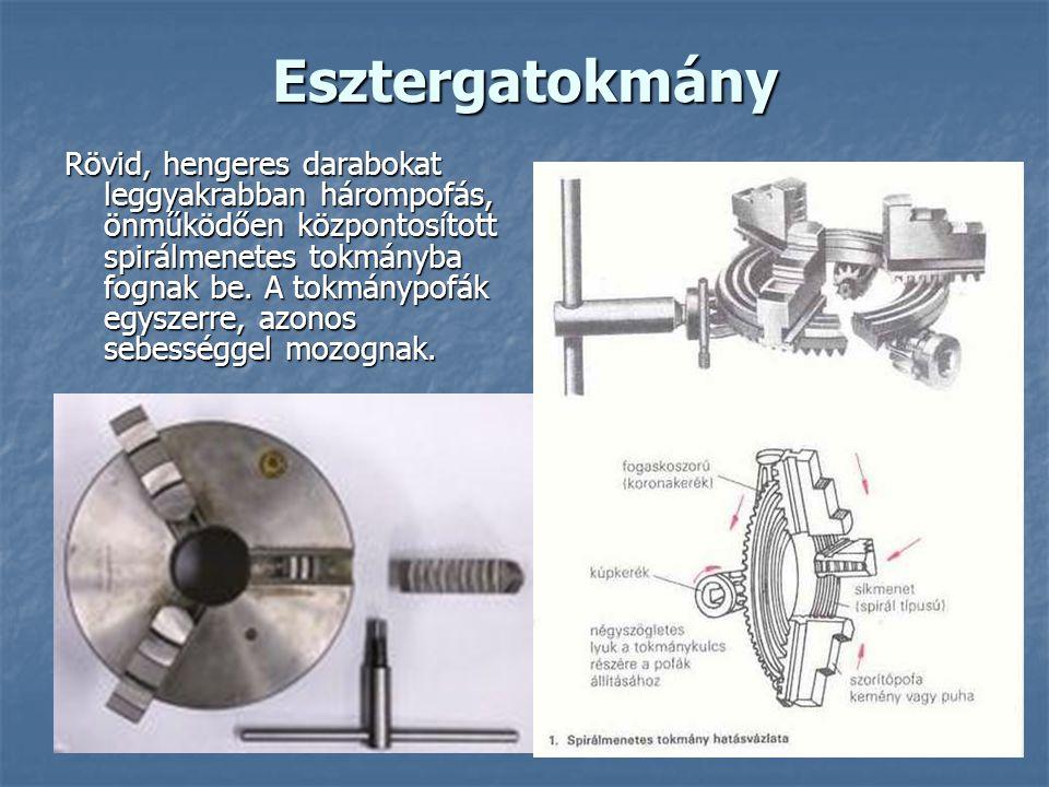 Esztergatokmány Rövid, hengeres darabokat leggyakrabban hárompofás, önműködően központosított spirálmenetes tokmányba fognak be.