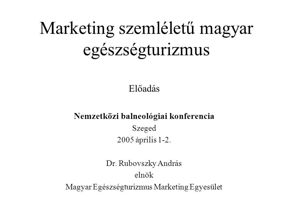 Marketing szemléletű magyar egészségturizmus Előadás Nemzetközi balneológiai konferencia Szeged 2005 április 1-2. Dr. Rubovszky András elnök Magyar Eg