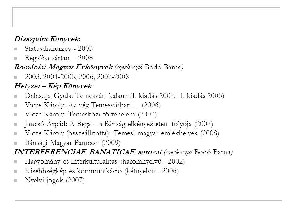 Diaszpóra Könyvek: Státusdiskurzus - 2003 Régióba zártan – 2008 Romániai Magyar Évkönyvek (szerkesztő Bodó Barna) 2003, 2004-2005, 2006, 2007-2008 Helyzet – Kép Könyvek Delesega Gyula: Temesvári kalauz (I.