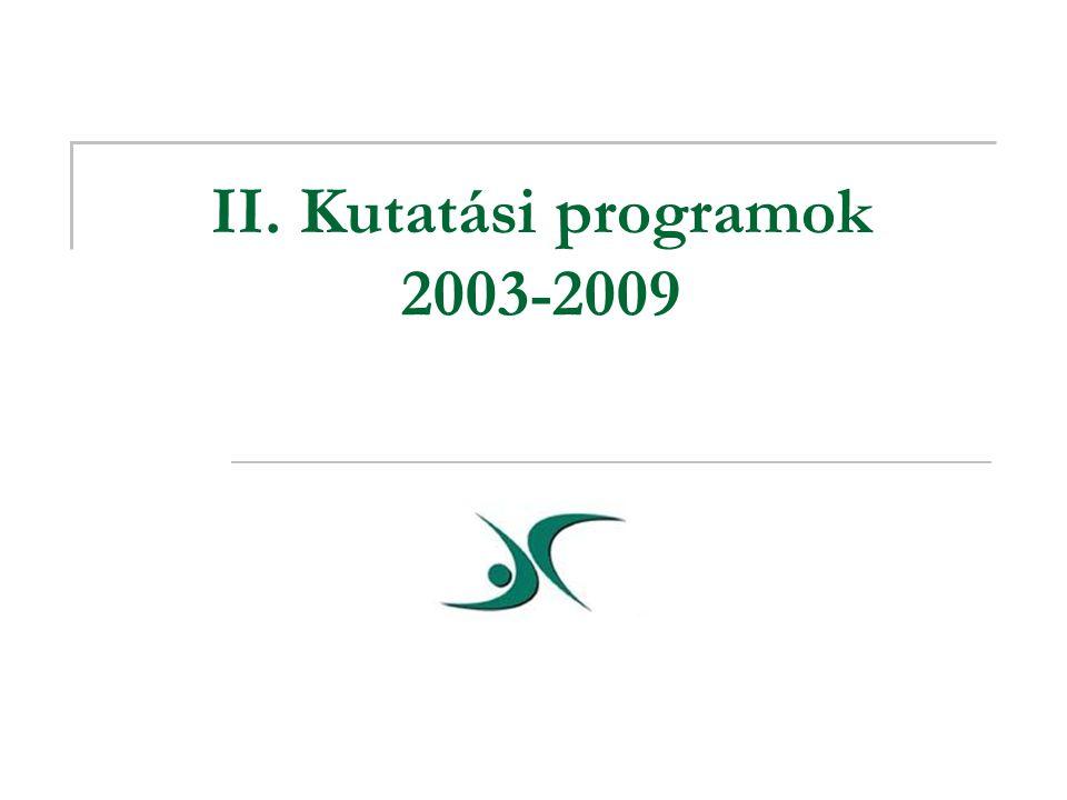 II. Kutatási programok 2003-2009