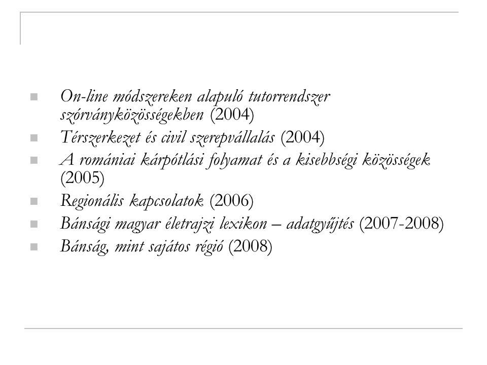 On-line módszereken alapuló tutorrendszer szórványközösségekben (2004) Térszerkezet és civil szerepvállalás (2004) A romániai kárpótlási folyamat és a kisebbségi közösségek (2005) Regionális kapcsolatok (2006) Bánsági magyar életrajzi lexikon – adatgyűjtés (2007-2008) Bánság, mint sajátos régió (2008)