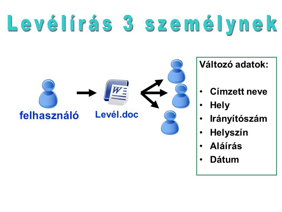 Levél.doc felhasználó Változó adatok: Címzett neve Hely Irányítószám Helyszín Aláírás Dátum