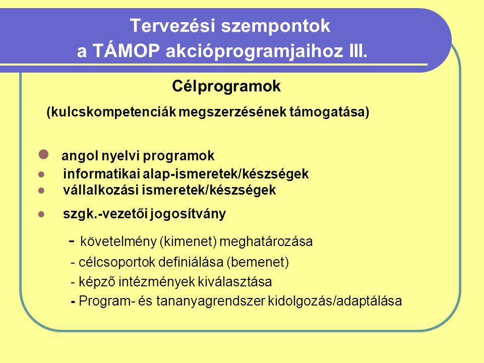 Tervezési szempontok a TÁMOP akcióprogramjaihoz III.
