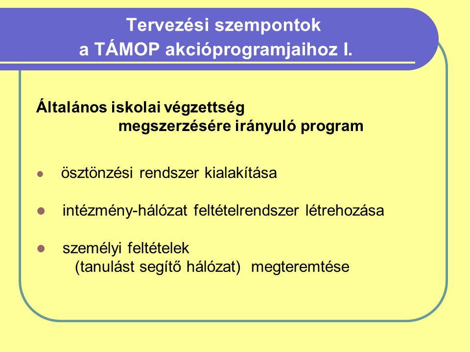 Tervezési szempontok a TÁMOP akcióprogramjaihoz I.