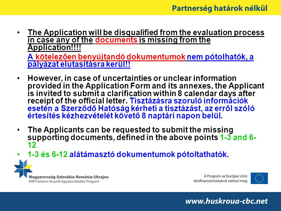 The Application will be disqualified from the evaluation process in case any of the documents is missing from the Application!!!.