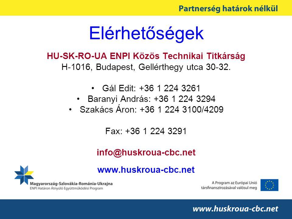 Elérhetőségek HU-SK-RO-UA ENPI Közös Technikai Titkárság H-1016, Budapest, Gellérthegy utca 30-32.