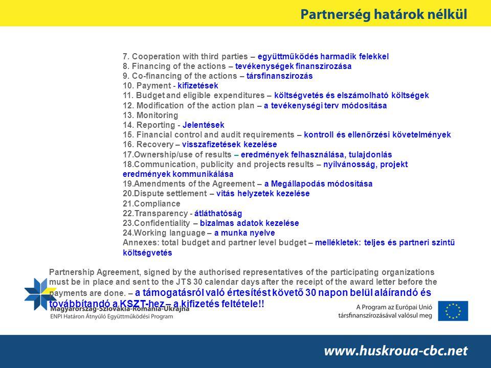 7. Cooperation with third parties – együttműködés harmadik felekkel 8.