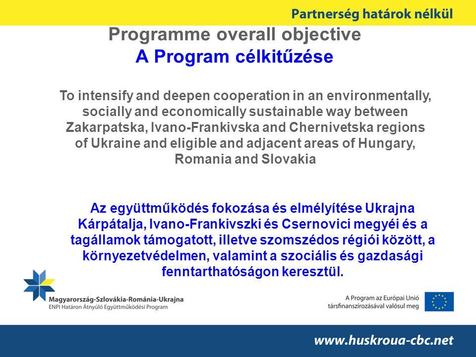 Programme area (participating regions) – A Programterület Hungary: Szabolcs-Szatmár-Bereg Borsod-Abaúj-Zemplén (a) Slovakia: Košický – Kassa Prešovský – Eperjes Romania: Maramures – Máramaros Satu-Mare – Szatmár Suceava (a) - Szucsava Ukraine: Zakarpatska – Kárpátalja Ivano–Frankivska Chernivetska (a)