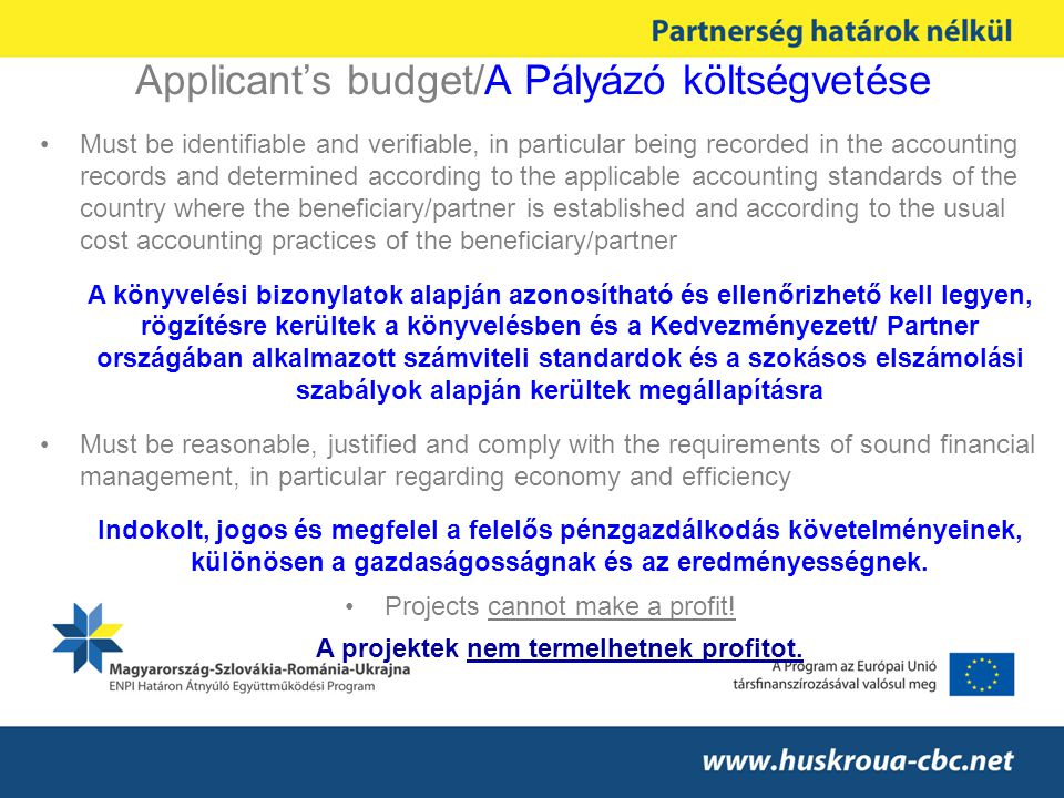 Applicant's budget/A Pályázó költségvetése Must be identifiable and verifiable, in particular being recorded in the accounting records and determined