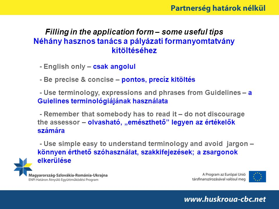 - English only – csak angolul - Be precise & concise – pontos, precíz kitöltés - Use terminology, expressions and phrases from Guidelines – a Guieline