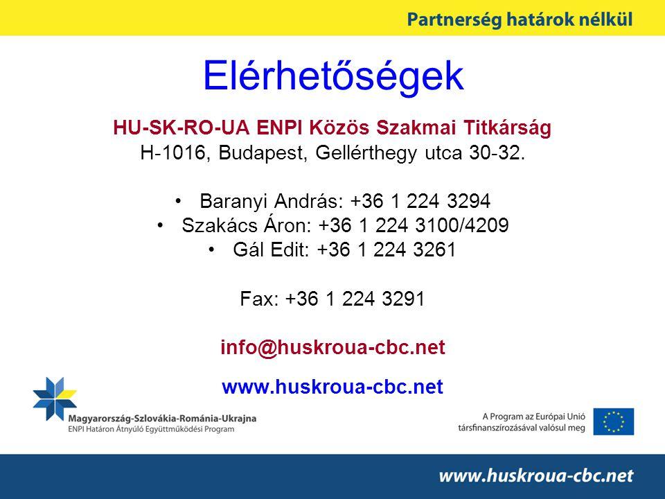 Elérhetőségek HU-SK-RO-UA ENPI Közös Szakmai Titkárság H-1016, Budapest, Gellérthegy utca 30-32.
